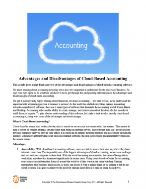 Advantages and Disadvantages of Cloud-Based Accounting