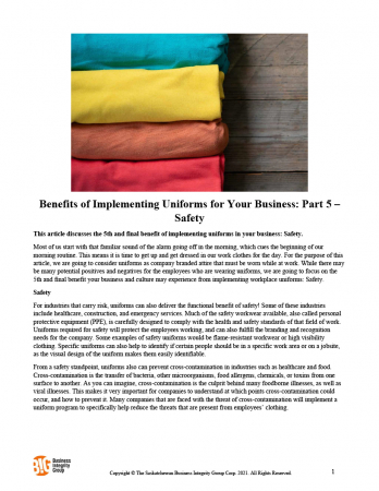 Benefits of Implementing Uniforms for Your Business - Part 5 – Safety
