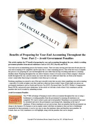 Benefits of Preparing for Year-End Accounting Throughout the Year - Part 2 – Avoid Government Penalties