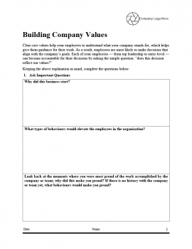 Building Company Values - Template