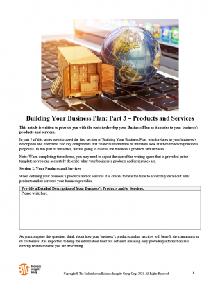 Building Your Business Plan - Part 3 – Products and Services