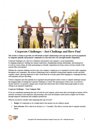Corporate Challenges – Just Challenge and Have Fun!