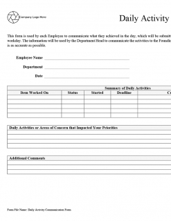 Daily Activity Communication Form