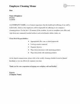 Employee Daily Cleaning Memo - Template