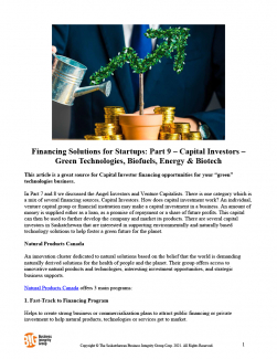 Financing Solutions for Startups Part 9 – Capital Investors – Green Technologies, Biofuels, Energy & Biotech