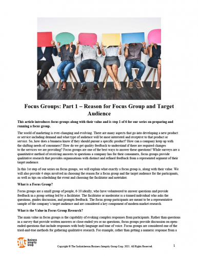 Focus Groups - Part 1 – Reason for Focus Group and Target Audience