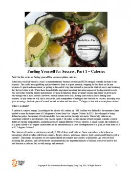 Fueling Yourself for Success Part 1 – Calories