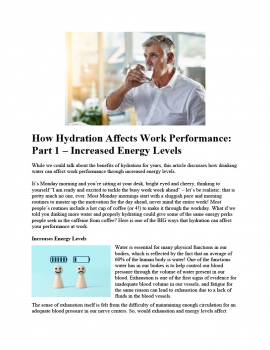 How Hydration Affects Work Performance - Part 1 - Increases Energy Levels