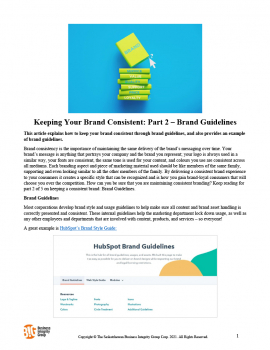 Keeping Your Brand Consistent - Part 2 – Brand Guidelines
