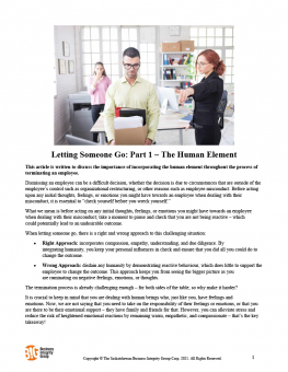 Letting Someone Go Part 1 – The Human Element