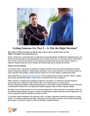 Letting Someone Go Part 2 – Is This the Right Decision