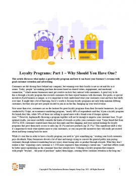 Loyalty Programs Part 1 – Why Should You Have One