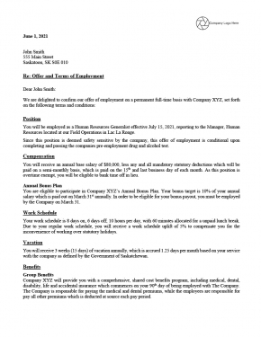 Offer Letter Example - Permanent Salary