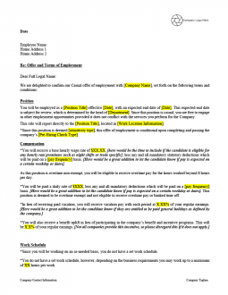 Offer Letter Template - Casual Employees