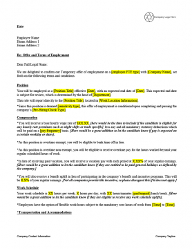 Offer Letter Template - Temporary Employees