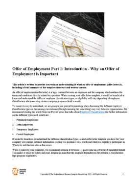 Offer of Employment - Part 1 - Introduction