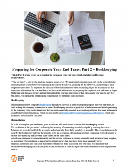 Preparing for Corporate Year-End Taxes Part 2 – Bookkeeping