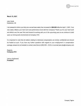 Salary Increase Letter - Example