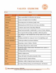 The BIG Coach - Values Exercise