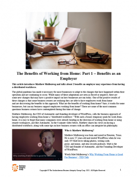 The Benefits of Working From Home - Part 1 - Benefits as an Employer