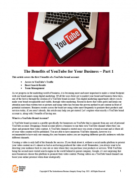 The Benefits of YouTube for Your Business - Part 1