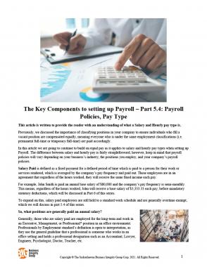 The Key Components to setting up Payroll – Part 5.4 - Payroll Policies, Pay Type-1