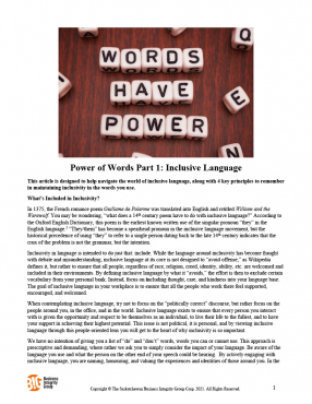 The Power of Words - Part 1 - Inclusive Language