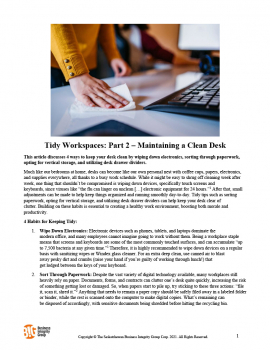Tidy Workspaces - Part 2 – Maintaining a Clean Desk