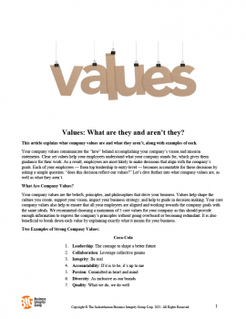Values - What are they and aren't they