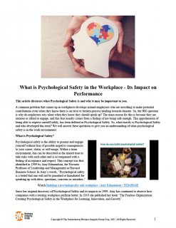 What is Psychological Safety in the Workplace