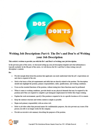Writing Job Descriptions Part 6 - The Do's and Don'ts of Writing your Job Description