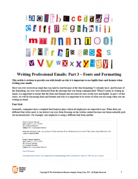 Writing Professional Emails - Part 3 – Fonts and Formatting