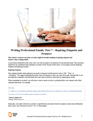 Writing Professional Emails Part 7 – Replying Etiquette and Features